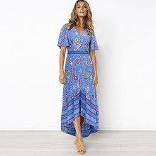 2019 Summer Floral  Flare Sleeve Women Dress Bohe Button Beach Dresses Vestidos V-Neck Maxi Dress sheer v neck flare sleeve maxi dress