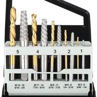19 10pcs 5/64?,7/64?,5/32?,1/4?,19/64? Left Hand Drill Bit Broken Bolt Damaged Screw Extractor Set with Metal Case woodworking tool (3)