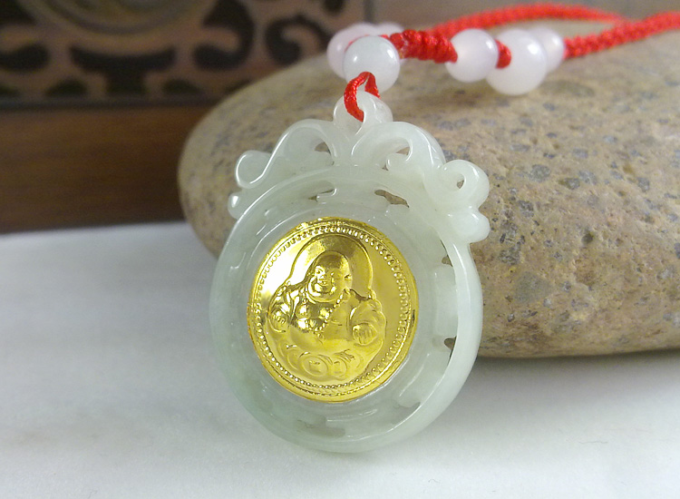 Free Shipping Hot Sales Buddha Gold Jade Necklace Unisex Good Quality Circle Style Pendants For Men Women