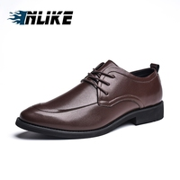 INLIKE Men Office Shoes Genuine Slipt Leather Men Dress Shoes Social Sapato Male Soft Leather Wedding Oxford Shoes Dress Shoes