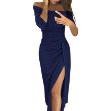 Sexy Women Dress Off Shoulder High Slit Bodycon Evening Party Dress Long Sleeve Dress Women Half Sleeve Mid-Calf