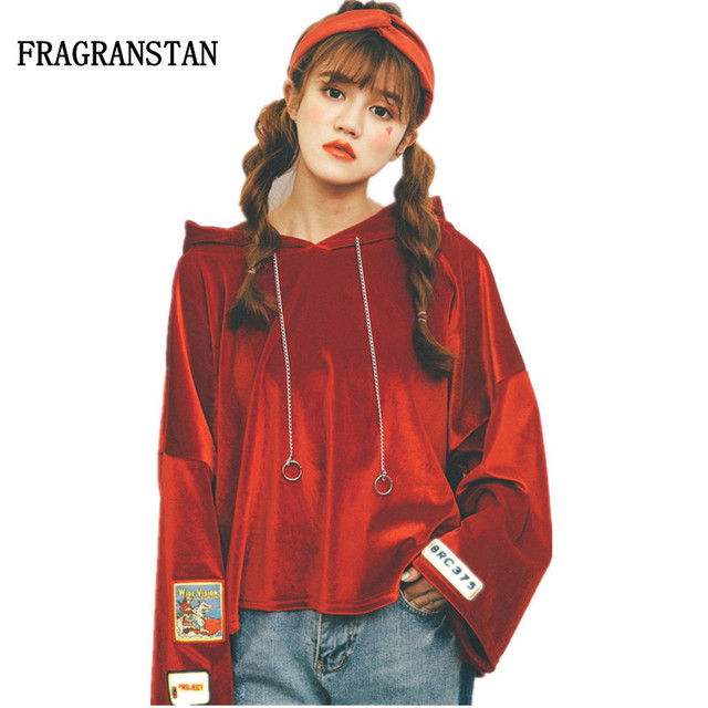 US $31.71 30% OFF|2017 Spring Autumn Female Casual Capuz Velour Flare Sleeve Sweatshirt Women New Fashion Letter Embroidery Red Loose Hoodie JQ61 in