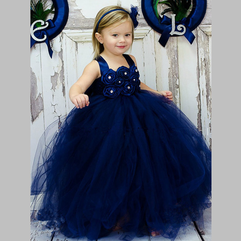 Navy Blue Girls Tutu Dress Princess Baby Girls Wedding Bridesmaid ...