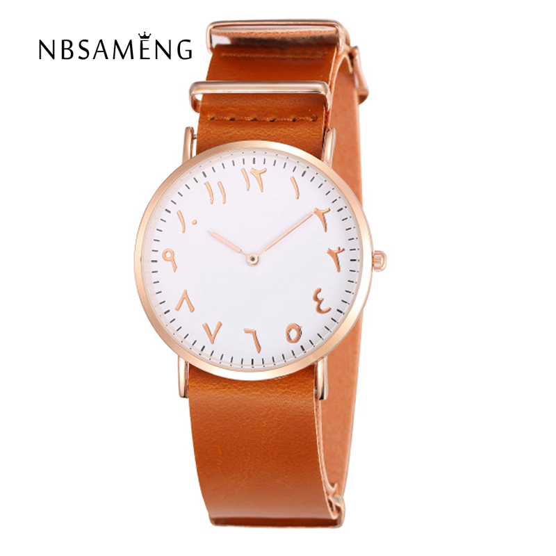 2017 New Fashion Arabic Numbers Watch  Design Men Women Quartz-Watch Luxury Leather Band Wristwatch Couple Clock LZ2235 cain