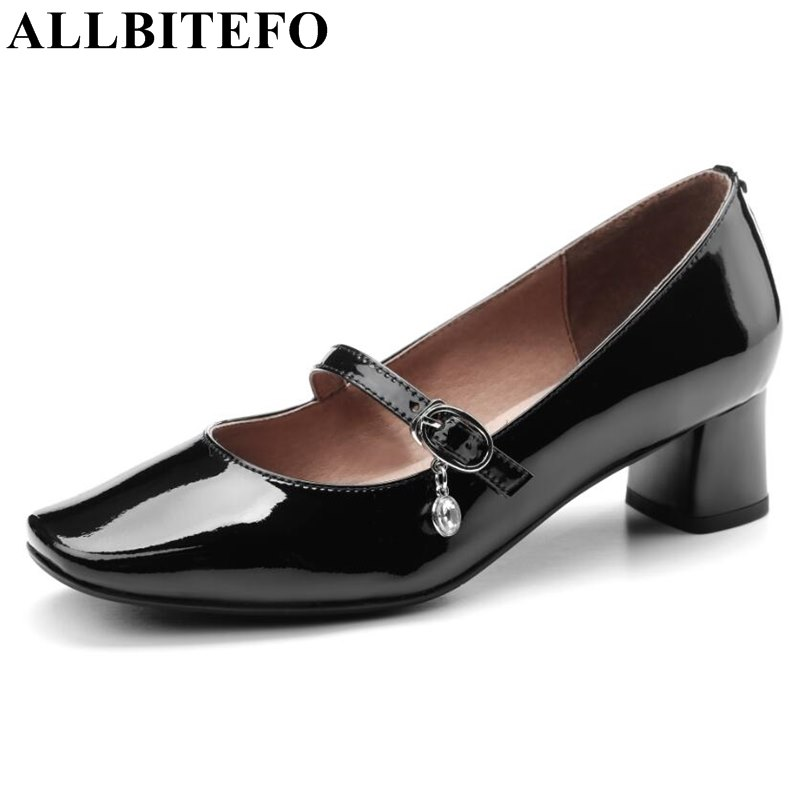 ФОТО ALLBITEFO large size:34-42 full genuine lether thick heel women pumps fashion retro high heel shoes woman office ladies shoes