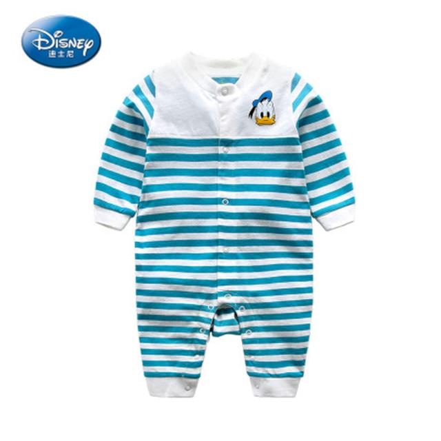 aea9c958b3693 Disney New 2017 Newborn Baby Rompers Girls Cartoon Cute Long Rompers Cotton  Donald Duck Boy Single Breasted Daisy Duck Jumpsuit