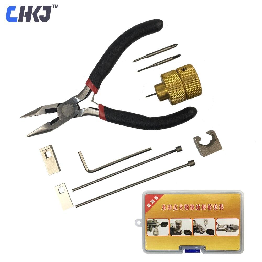 Chkj decodificador pino filp removedor de chave de cancelamento de ignição bloqueio de remoção pino de reparo de serralheiro para honda ferramenta de desmontagem de bloqueio de carro