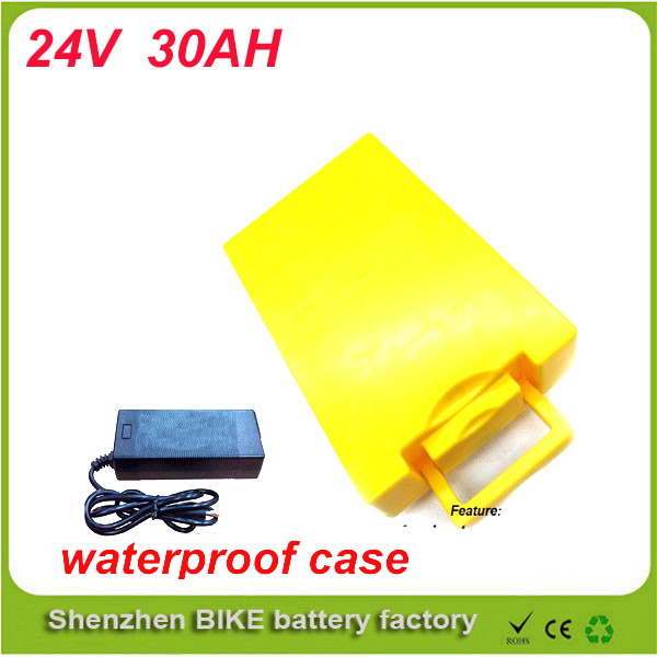 Ebike battery 24v 30ah 1000w 18650 battery electric bicycle Lithium battery pack with charger 50A BMS  waterproof case