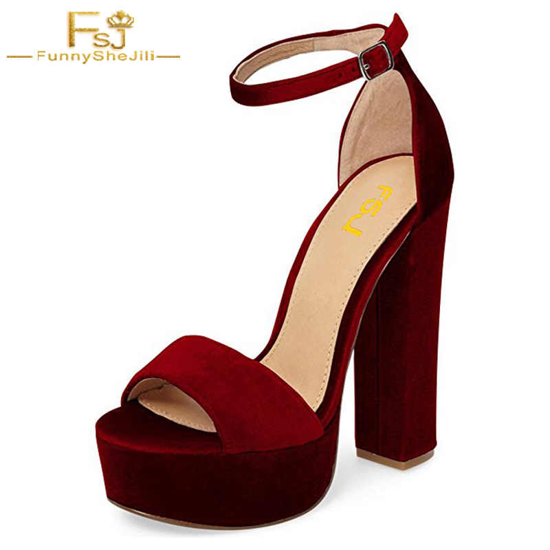 f6351cc1d Dark Red Supper High Chunky Heels Sandals Open Toe Shoes women Ankle Strap  Buckle Platform Casual