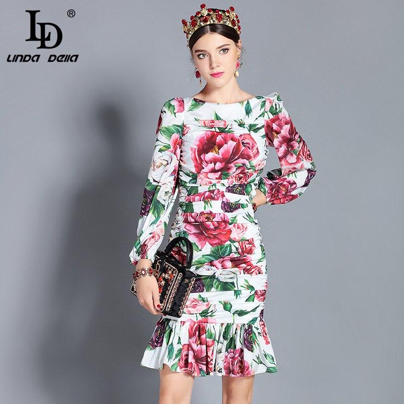 LD LINDA DELLA 2018 nowa moda jesień Runway Party sukienki damskie z długim rękawem Ruched Floral wydrukowano Sexy syrenka Bodycon sukienka w Suknie od Odzież damska na  Grupa 1