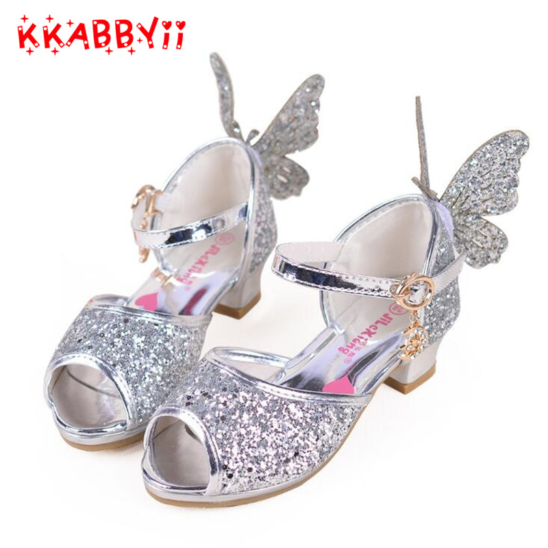 Girls Open Toe Children Sandals Kids Butterfly infantil Baby Girls Princess Shoes For Party Dance Wedding meisjes schoenen