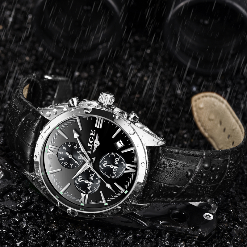 Luxury Chronograph Quartz Watch Leather Band
