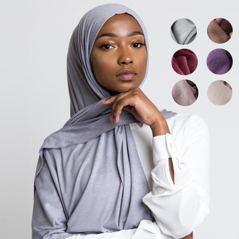 One Piece Muslim Jersey Hijab Scarf For Women Breathable Plain Islamic Shawls Soild Color Head Scarf For Women 70x160 Cm