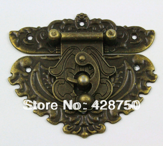 Antique Brass Jewelry Box Hasp Latch Lock 86x75mm with Screwsin