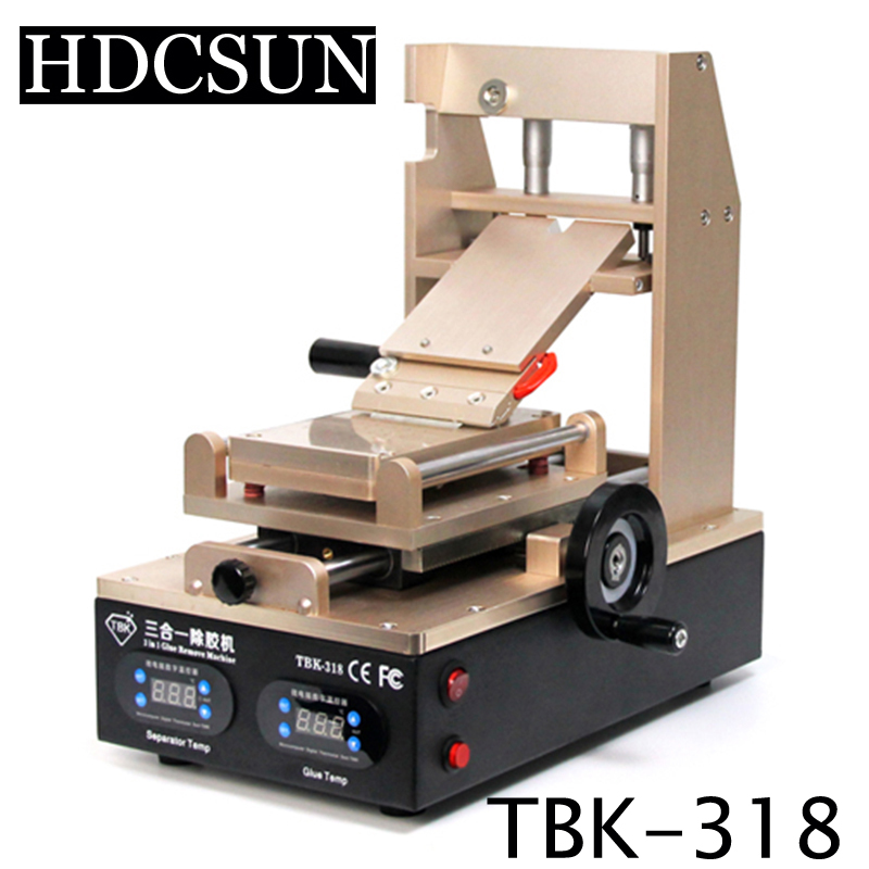 NEW TBK-318 3 in 1 Vacuum LCD Screen Separator + Preheater +OCA Glue Polarizer RemoverMobile Phone LCD Screen Refurbish Machine built in air vacuum pump ko semi automatic lcd separator machine for separating assembly split lcd ts ouch screen glas