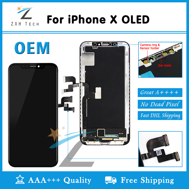 Grade AAA OEM OLED for iPhone X XR XS LCD Display Screen Replacement Lens Pantalla with