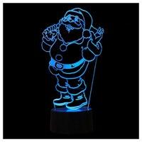 CSS Renkli Noel Baba Şekli LED Dokunmatik 3D Işıkları Yaratıcı Masa Lambası Görüş Dekorasyon Nightlight Siyah + Şeffaf
