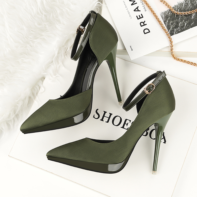 2018 Summer Women 12cm Thin Extreme High Heels Satin Silk Pumps Female Elegant Sweet Heels Shoes Scarpins Buckle Cheap Shoes 16
