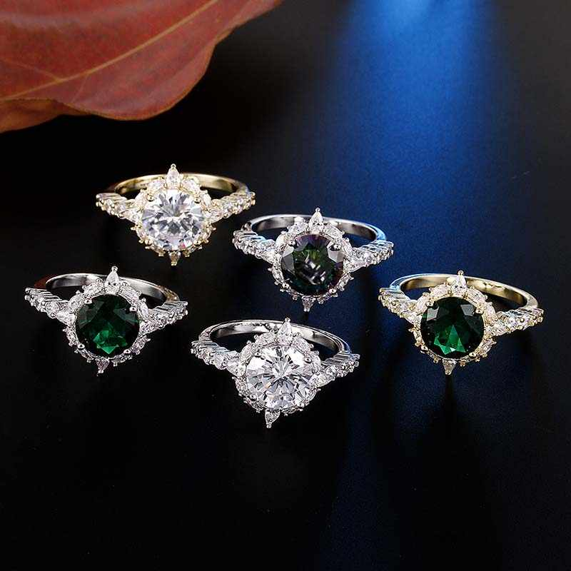 ผู้หญิงดอกไม้ Anillos De Compromiso Silver/Gold สีแหวนสีขาวสีเขียว Multicolor Cubic Zircon แหวน Femme เครื่องประดับ
