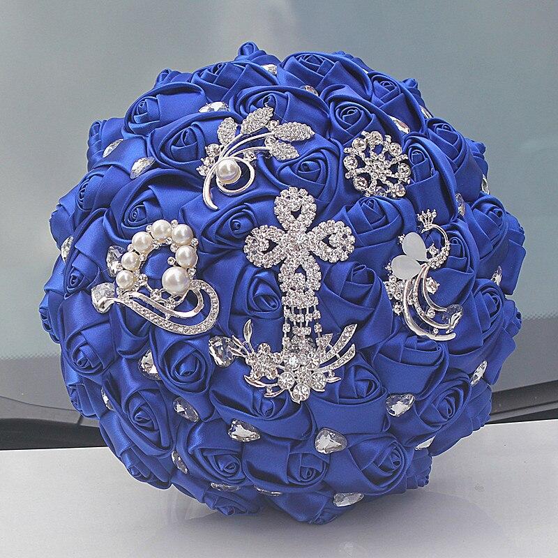 Wedding Bouquet Crystal Flowers: 24cm Stunning Bride Brooch Bouquet Royal Blue Heart