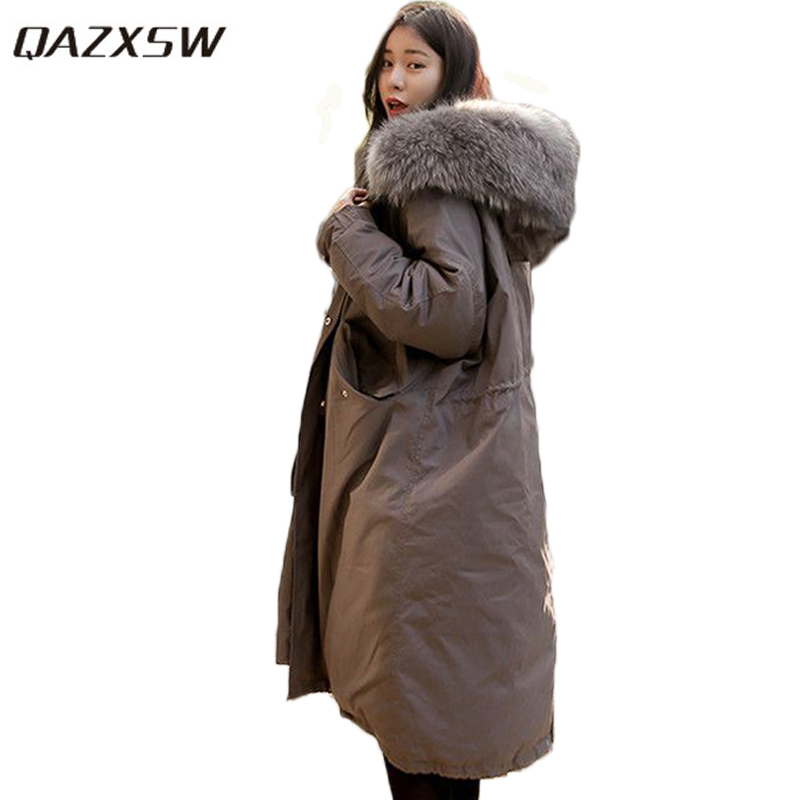 QAZXSW 2017 Winter Cotton Coat Women Long Parkas Thick Padded Casual Loose Parkas Women Winter Jacket Oversized Outwear HB334 qazxsw 2017 new winter cotton coat women long parkas thick velvet double breasted lamb winter jacket women suede jackets hb321