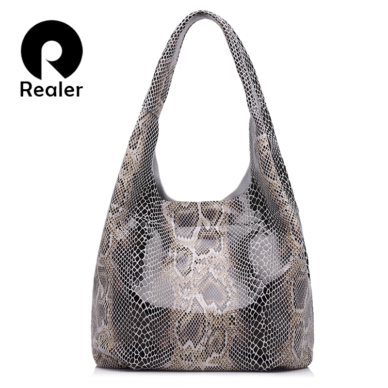 REALER Genuine Leather Handbags Large Totes Classic Serpentine Prints Shoulder Bag Ladies Hobos Bags For Women Top-handle Bucket