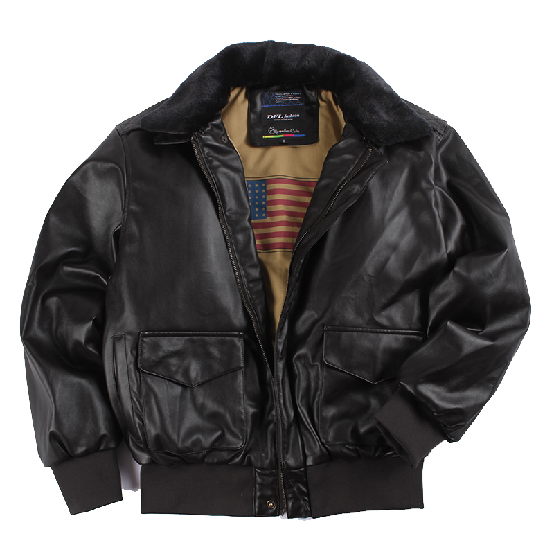 Faux Leather Bomber Jacket Men Winter Fur Collar Classic Loose Motorcycle Jacket Men Pilot Retro Vintage Thick Warm 2020