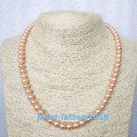 AAAAA японский культурная жемчужина акоя 7 мм, розовое золото, Цепочки и ожерелья 17 Топ классификации