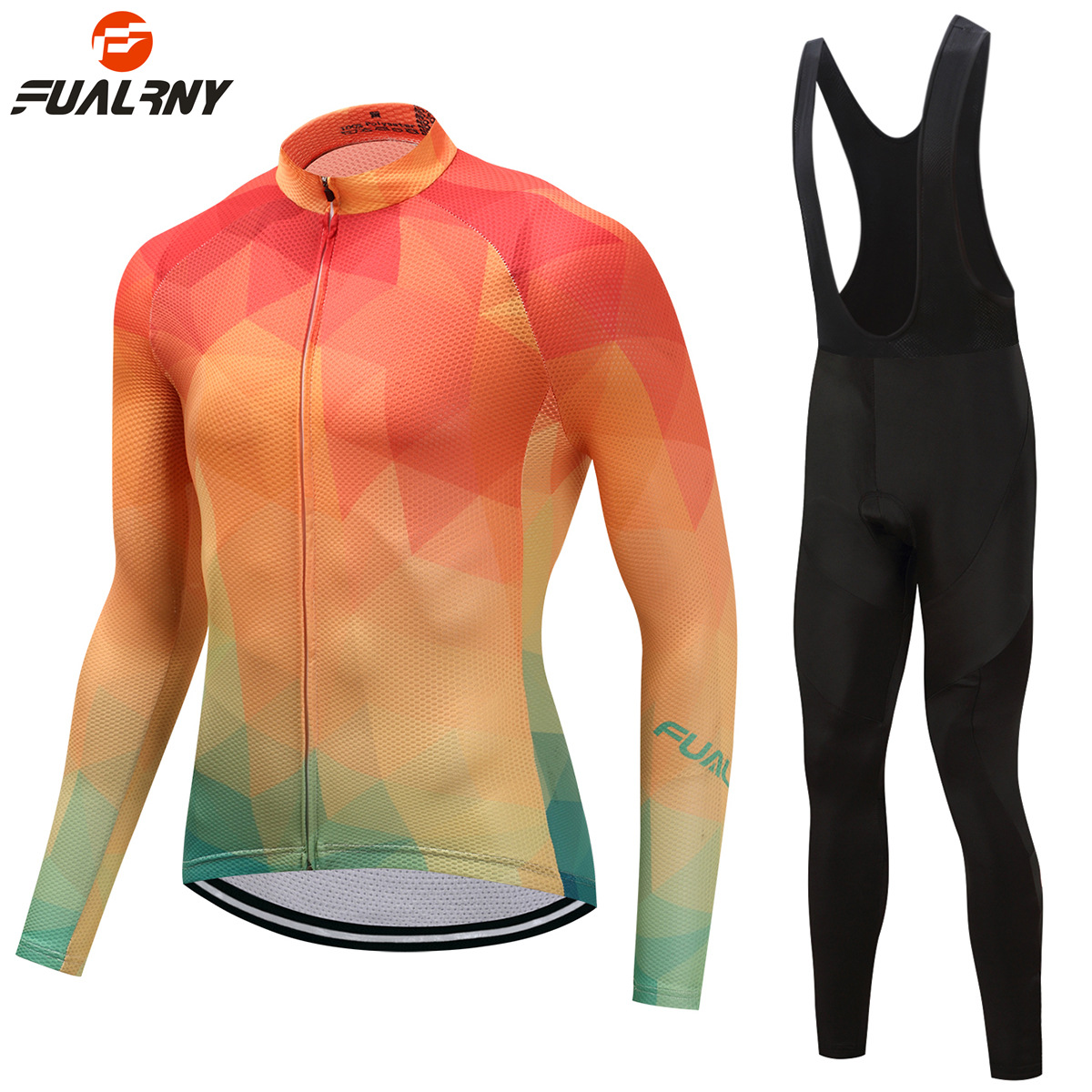 FUALRNY Men Women Long Sleeve Breathable/Fleece Cycling Jersey Set MTB Bicycle Clothing Maillot Ropa Ciclismo MTB Bike Clothes