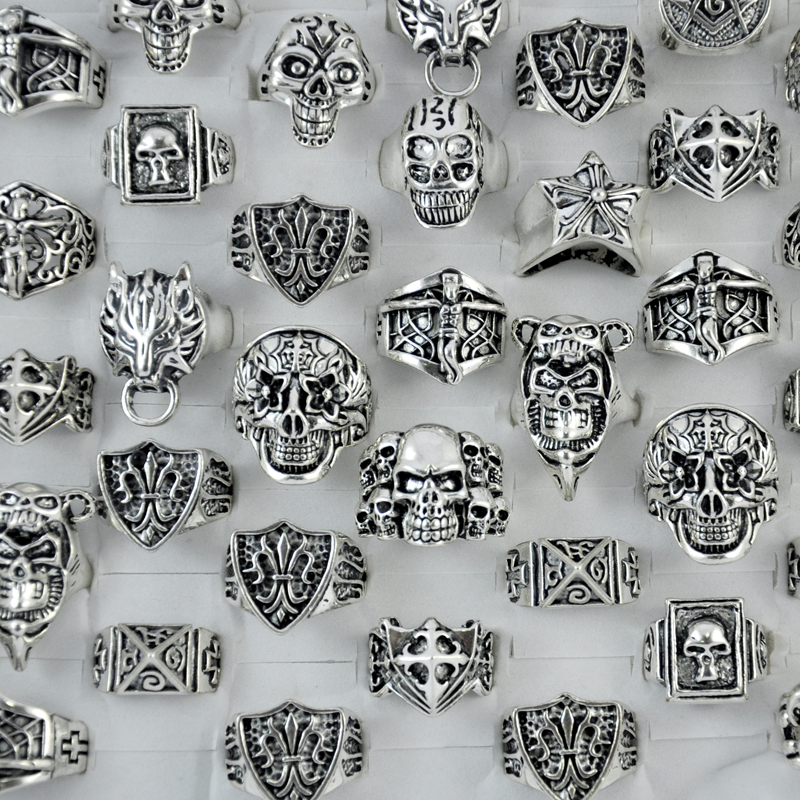 10pcs skull cross jesus vintage style silver plated men Vintage style fashion rings