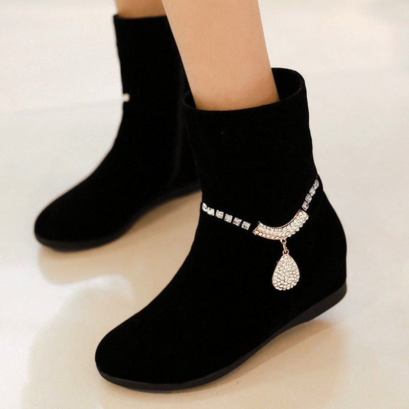 8ae9fea952f New Fashion Women Shoes Elegant Cute Women Crystal Flat Height Increasing  Suede Boots,Ladies Dress Shoes Short Winter Warm Boots
