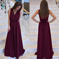 49790a074e43 Summer Elegant Party Dress For Women Bohemian Sleeveless V Neck Christmas  Dress Floor Length Sexy Dresses