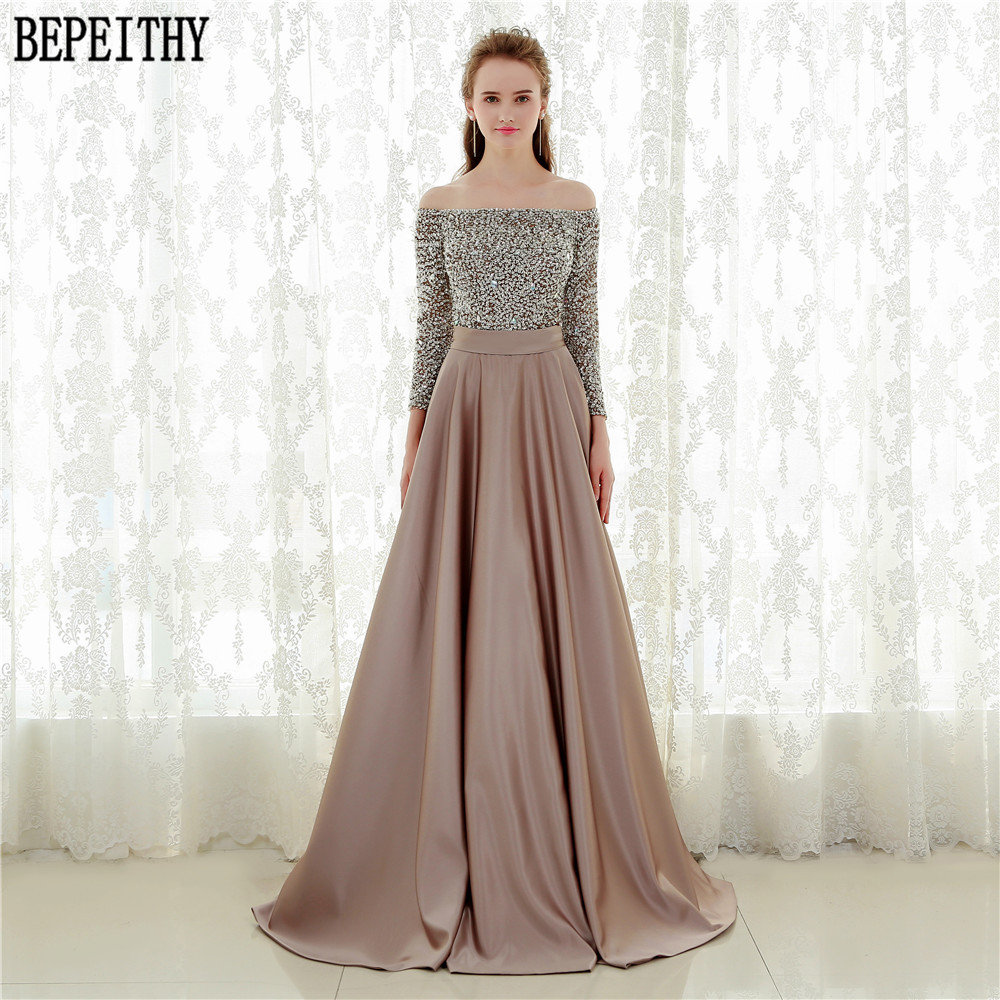 BEPEITHY Custom Made Robe De Soiree Off The Shoulder Kadisua Three Quarter Sleeve Bead Long Evening Dress 2017 Vestido Longo