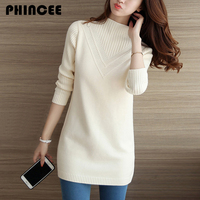 Thick Medium Long Knitting Sweaters And Pullovers For Women 2017 Spring Fall New Turtleneck Knitwear Korean