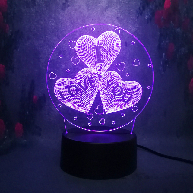 New Led Lamp Girl3d Love Balloons Heart Shape Led Night Light