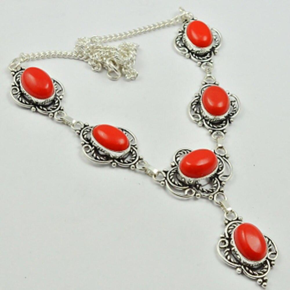 Красное Коралловое Ожерелье серебряное покрытие над медью, 47 см, N2813 Цепочки      АлиЭкспресс