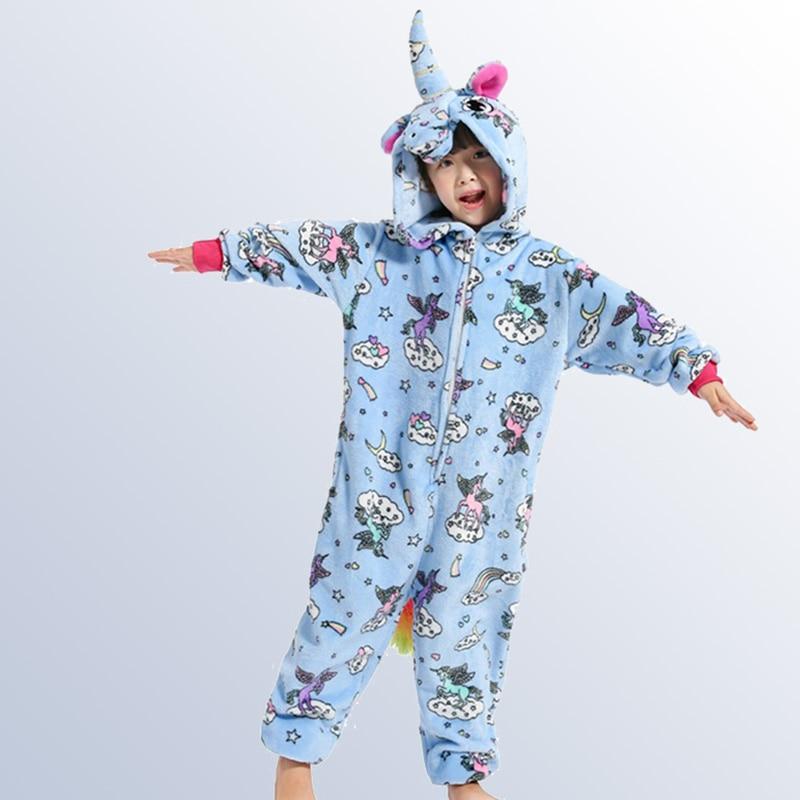 Kinder Einhorn Pyjamas Cartoon Cosplay Flanell Kinder Jungen Mädchen Pyjamas Onesies Kinder Nachtwäsche Für 4 6 8 10 12 Jahre Alt Dinge Bequem Machen FüR Kunden