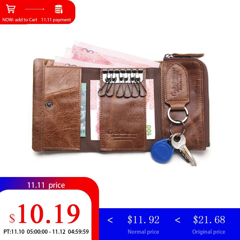 CONTACT'S Men Wallet Key Case Key Holder Wallet Coin Purse Genuine Leather Housekeeper Car Key Organizer Bag Small Portfolio цены онлайн