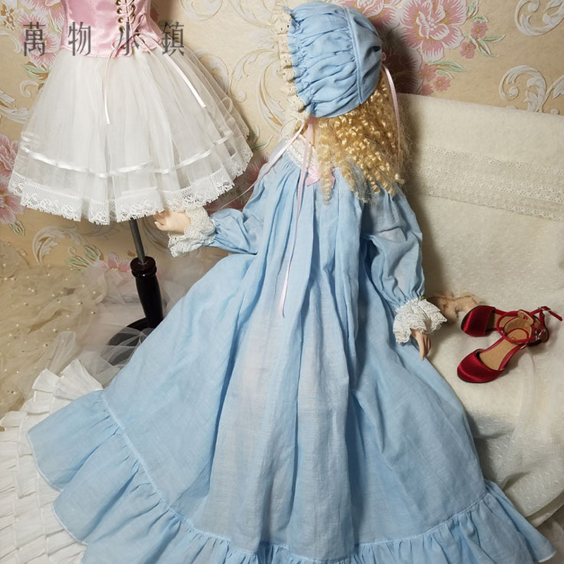 NEW Classics Cotton Blue Nightgown Long Skirt 1/3 SD10 DD BJD SD Doll Clothes winter lace lady long woolen coat for bjd doll sdgr sd10 sd13 dd clothes 1 3 sd clothing cw27