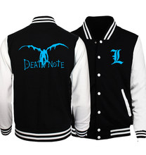 Death Note Jacket Men 2018 Japan Anime Punk Rock Baseball Uniform Noctilucent BLEACH Jackets Night Lights Fluorescence Coat 5XL(China)