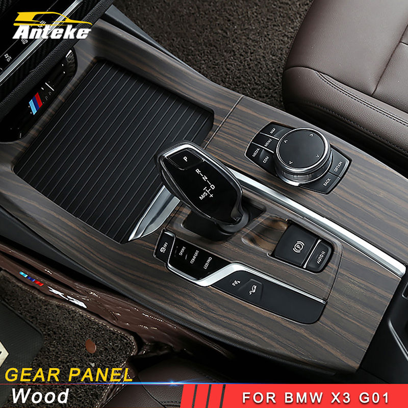 ANTEKE Car ABS wood central control sticker cover accessories For 2018 BMW X3 G01 X4 G02