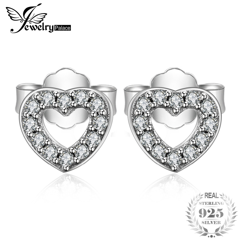 89a7a05d41a7 Detail Feedback Questions about Jewelrypalace 925 Sterling Silver Earrings  Stud Cubic Zirconia Forever Love Heart Butterfly Promise Women Girls Jewelry  New ...
