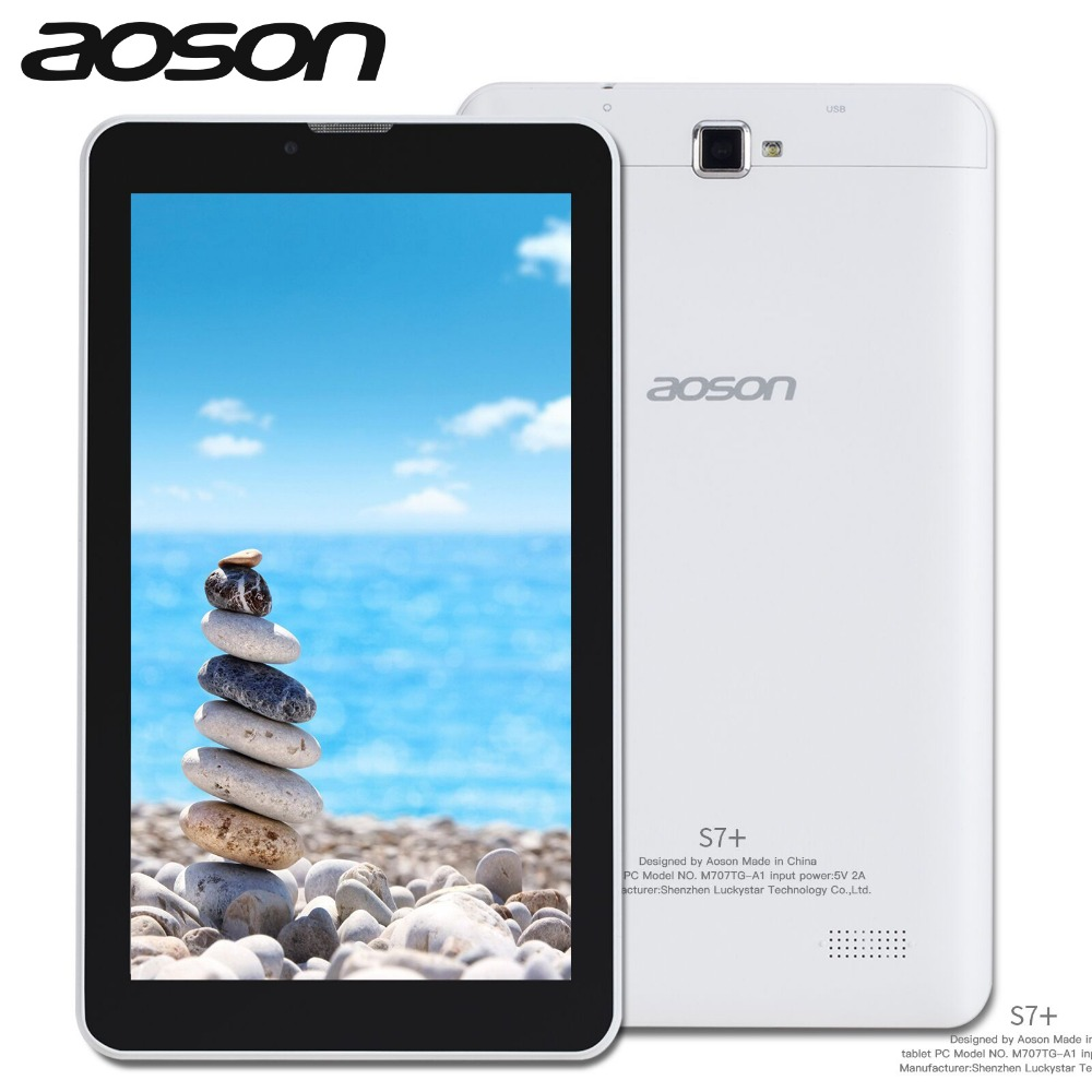Aoson S7+ Android 7.0 Quad Core 7 inch Tablet PC 16GB+1GB Dual Camera 3G Phone Call Tablets Wi-Fi Bluetooth 1024*600 IPS Newest new arrival 7 inch tablet pc aoson m751 8gb 1gb 1024 600 android 5 1 quad core dual cameras bluetooth multi languages pc tablets