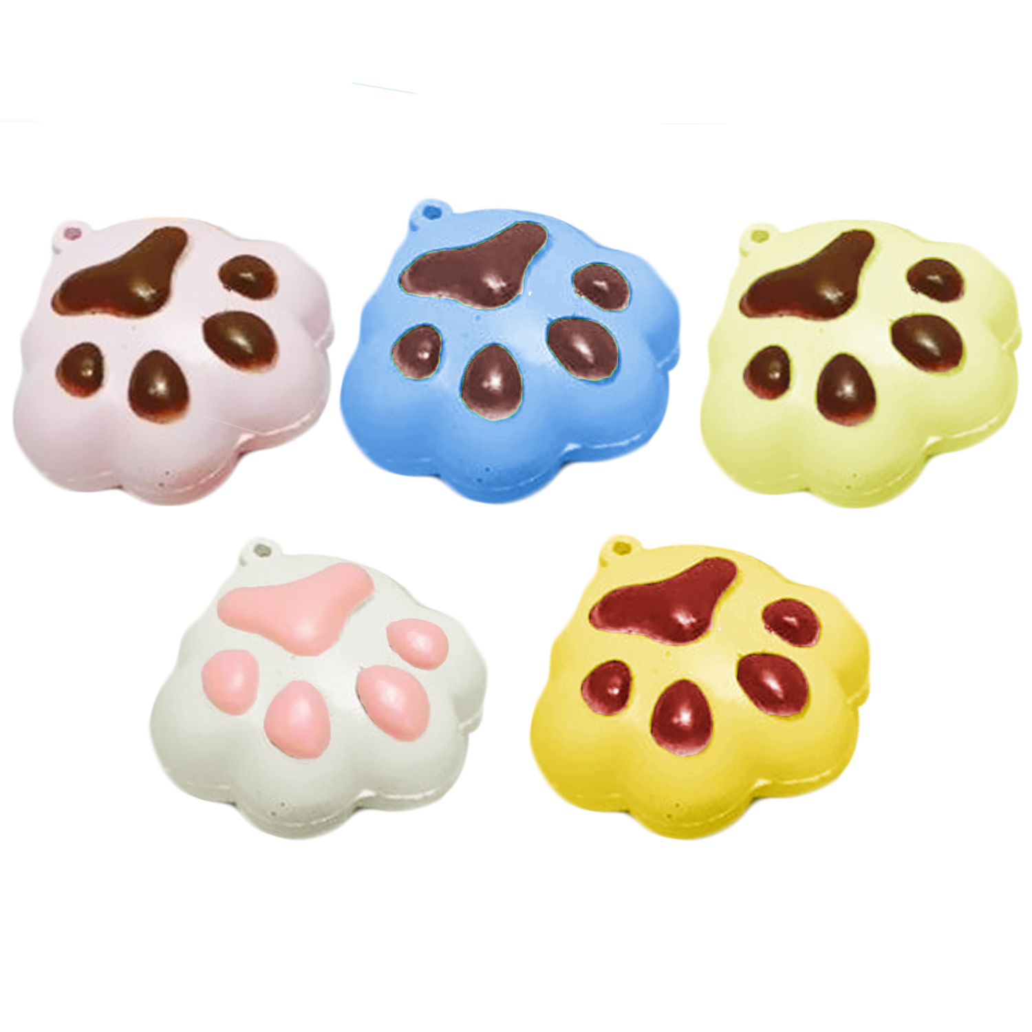 Satkago 12 PCS Soft Squishy Imitation Cat Sprinkle Feet Dog Paw Bear Footprint Cookie Pendant Slow Rising Toy for Relieve Stress