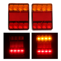 High Quality 1 Pair 12V 8 LED Trailer Lights Tail Lights Trailer Rear Truck Caravan Square