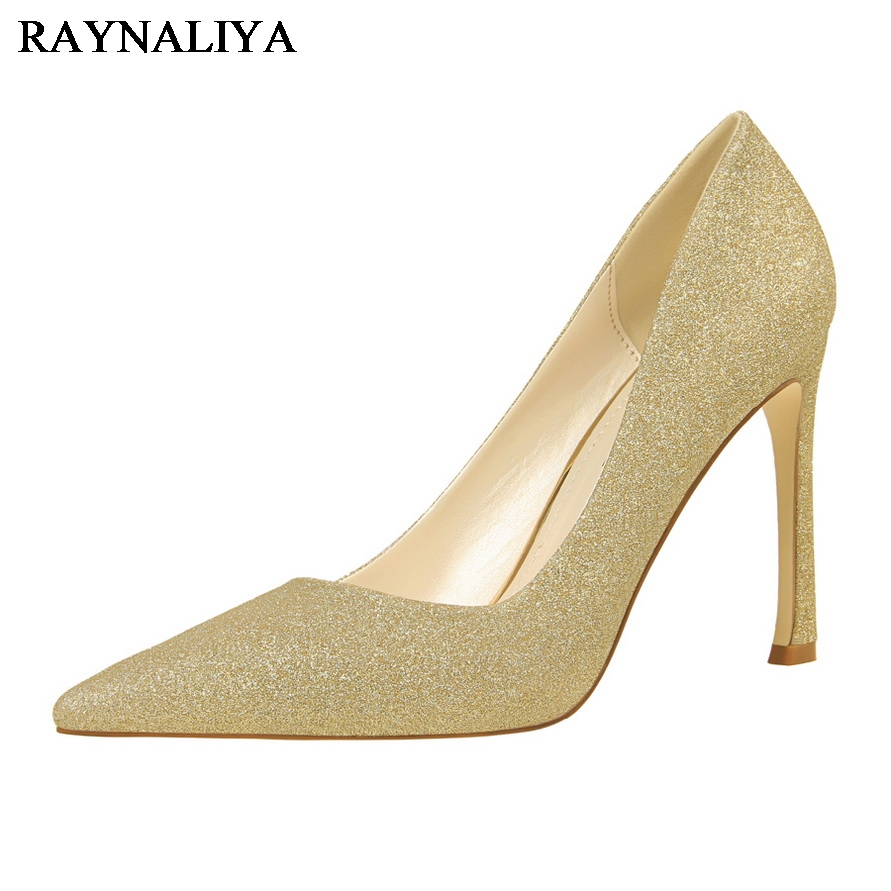 Fashion Woman Pumps High Heel Shoes Women Sequins Pointed Toe Elegant Thin Heels Golden Silvery Wedding Party Shoes DS-A0111 2016 woman high heels pumps thin heel women s shoes pointed toe high heels wedding shoes brand fashion shoes