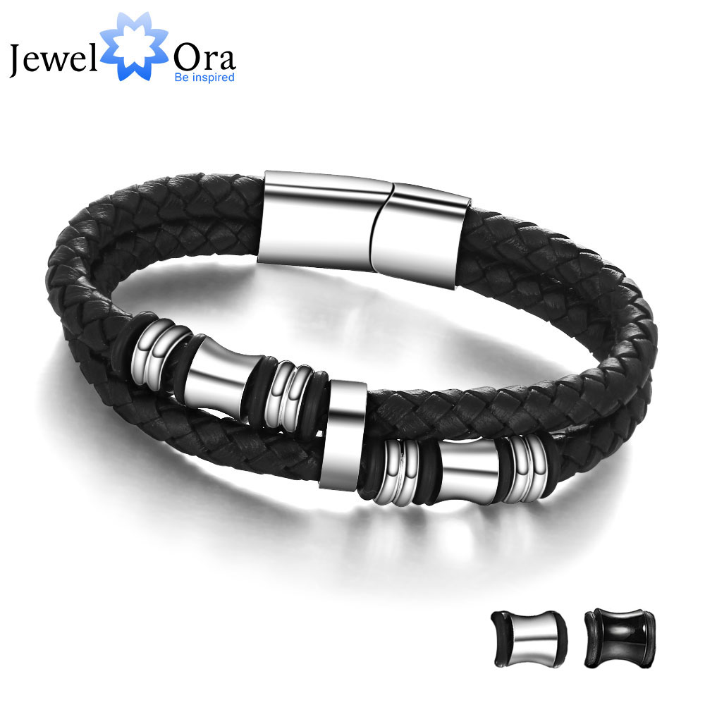 Stainless Steel Men Bracelet Genuine Leather Bracelets & Bangles Man Jewelry Father's Day Gift (JewelOra BA101174) fashion jewelry copper color 2 style bracelets mens stainless steel hologram magnet bracelets bangles for man trendy gift