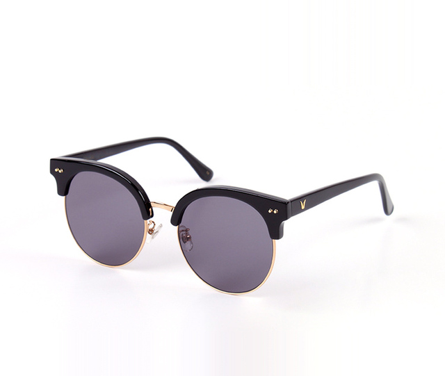 High Quality V logo Sunglasses moon cut Design Classic Retro Half Frame Sunglasses For Women Driving UV400 Gafas Oculos De Sol