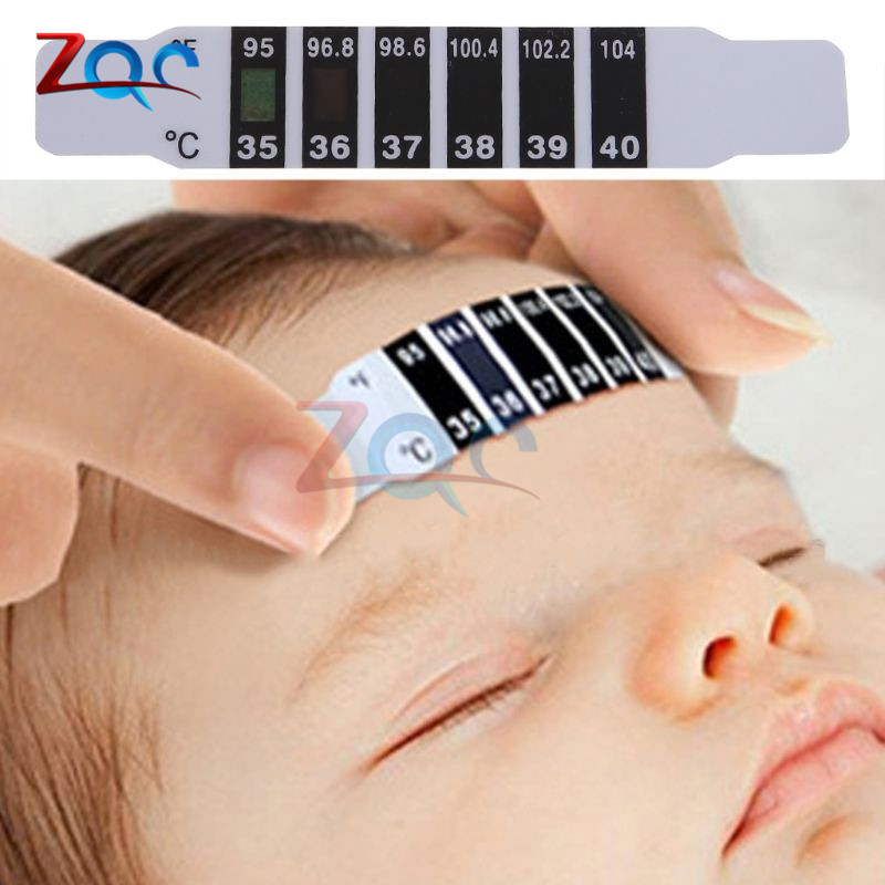 10pcs Forehead Head Strip Thermometer Fever Body Baby Child Kid Care Check Test Temperature Monitoring Safe Non-Toxic new