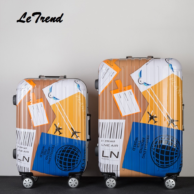 цена на Children Carton Rolling Luggage Bussiness Travel Bag 20 inch Women Men 24 Inch Carry On Suitcases Wheels Trunk